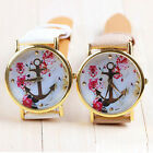 Women's Fashion Leather Floral Printed Anchor Quartz Dress Wrist Watch T09C