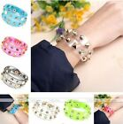 Transparent Film Statement Spike Rivet Resin Wristband Cuff Bracelet Bangle Punk