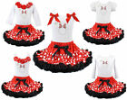 Minnie Mouse Princess Tutu Pettiskirt Set Polkadot Red NWT Sz 1-6Y FREE Bracelet