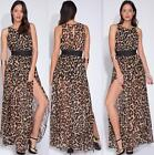 WOMEN ANIMAL PRINT MAXI DRESS Long Sleeveless Double Slit Skirt Chiffon S M L