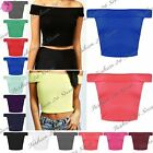Womens Ladies Plain Off Shoulder Sleeveless Bardot Vest T Shirt Crop Cropped Top