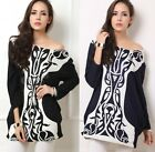 Over Size Women Print Black White Long Sleeve T-Shirt Tops Casual Dresses Pick