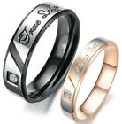 """Stainless Steel """"True Love"""" Comfort Fit Wedding Bands Promise Ring HS22"""