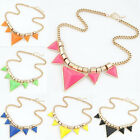 Fashion CrysFashion Triangle Statement Chain Pendant Necklace Bib Choker Chunky