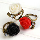 Crafted Vintage Copper Bronze Brass Acrylic Rose Flower Adjustable Finger Ring