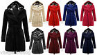 New Women Check Hood Duffle Style Hooded Fleece Comfortable Belted Long Coat