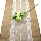 New White Vintage Jute Burlap Lace Hessian Table Runner Wedding Table Decoration