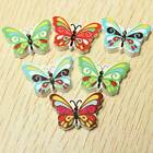 50/100Pcs Mixed Colorful Butterfly Wooden Sewing Fit Buttons Cardmaking 2 holes