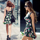 Women Sexy Casual Floral Summer Sleeveless Party Evening Mini Dress T89C