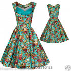 RKB2 Lindy Bop Ophelia Turquoise Rockabilly Vintage Floral Swing Dress Plus Size