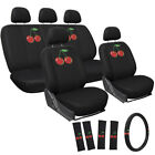 17pc Seat Cover ALL Auto Car Truck Embroidered Mesh + Steering Wheel Belt Pads <br/> #1 Seller~OxGord&reg;~Air Bag Safe~New Design~10,000 Sold
