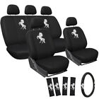 17pc Seat Cover ALL Auto Car Truck Embroidered Mesh  Steering Wheel Belt Pads