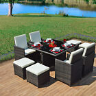 Mixed Grey Rattan Dining CUBE Table Set 8 Seater Garden Conservatory Furniture