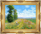 Framed Canvas Wall Art Print Meadow with Poplars Landscape by Claude Monet Repro