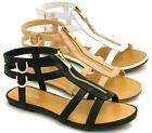 LADIES WOMENS GLADIATOR SANDALS CUT OUT FLAT STRAPPY SUMMER SHOES SIZE