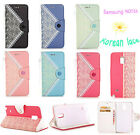 HOT STYLE! Korean Lace Leather Wallet Stand Case Cover For Samsung Galaxy NOTE 4