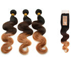 Fashion Virgin Human Hair Exrensions 3 Tone +Lace Top Closure Hair(4*4) US Local