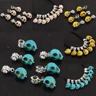 Gothic Howlite Turquoise Gemstone Skull Head European Beads Fits Charms Bracelet