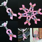 Wholesale Pink Ribbon Breast Cancer Awareness European Beads Charms For Necklace