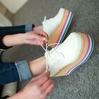 high platform womens lace up sneakers creeper lace up Rainbow heels wedge shoes