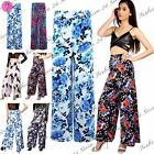New Womens Ladies Print Flared Wide Leg Parallel Trousers Palazzo Leggings Pants