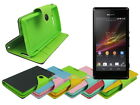 Leather Wallet Case Stand with Inner TPU Soft for Sony Xperia M