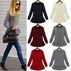 2015 New Womens Long Sleeves Wool Blends Tops Jumper Knit Sweater Skirt Hem - CB
