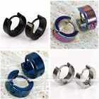 2x Cool Womens Mens Stainless Steel Gothic Punk Hoop Huggies Ear Studs Earrings