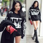 Fashion Womens Formal Letter Print Sweatshirt Long Sleeve Tops Blouse Black - CB
