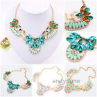 Fashion Women Necklace Crystal Pendant Gold Chain Choker Statement Chunky Collar
