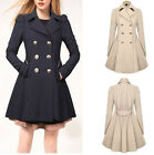 Fashion Lady Slim Fit Women Double Breasted Trench Warm Coats Dress Jackets
