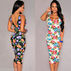 Fashion Women's Floral Square Neck Sleeveless Party Club Cocktail Bodycon Dress