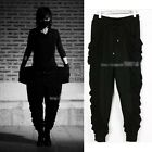 Fold pattern harem pants men / casual low-crotch pants black cross 35.52