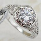 Size5.5 7.5 Classy Nice White 3.3ct CZ Jewelry Gold Filled Woman Gift Ring R2040
