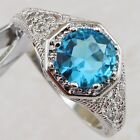 Size5.5 7.5 Classy Nice Sky Blue Topaz Jewelry Gold Filled Woman Gift Ring R2041