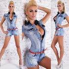 Women's Denim Jeans Short Cap Sleeve Romper Overall + Belt- XS / S / M / L / XL
