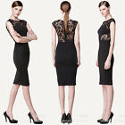 Sexy Women Black Slim Lace Sheer Sleeveless Dress Cocktail Evening Party Skirt