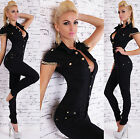 Sexy Women's Denim Jeans Jumpsuit Black Overall Skinny Legs Jeans Size 6-14
