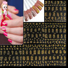 3D Gold Silver Nail Art Tip Lace Flower Manicure Stickers Decal DIY Decoration