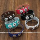 1pc Chunk Snap Charm Leather Bracelet Bangle Fit Popper Buckle Button Punk DIY