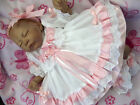 DREAM BABY GIRL WHTE PINK GINGHAM FRILLY DRESS hbd NB 0-3 3-6 6-12 12-18 MONTHS