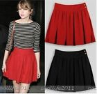 Women Gilr Solid Pleated High-waist A-Line Above Knee Skirt Cotton Red Black