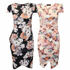Ladies Floral Dress Womens Midi Bodycon Peplum Cap Sleeved Stretch Party Summer