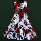 w025 X'mas UkV g2 Grey Party Red White Summer Event Flower Girls Dress 3,4,5-13y