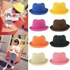Cute Girls Kids Baby Cat Ears Straw Hat Solid Colors Bowler Cloche Roll Up Cap