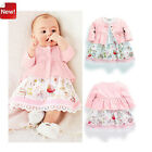 New 2PCS Baby Girls Pink Coat +Sleeveless Floral Dress Fit 6-36M