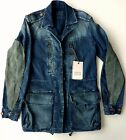 Zara Woman Blue Denim Leather Parka Biker Blazer Zip Jacket Uk Xs £79.99
