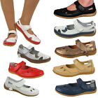 LADIES LEATHER WOMENS VELCRO COMFORT COMFY FLAT SHOES SANDALS SIZE 3-8
