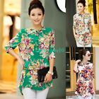 New Womens 3/4 Sleeve Floral Print Cotton Blouse High Low Hem Shirt Tops M - 3XL