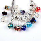 Mixed Lots Multicolor Faceted Crystal Dangle European Beads Fit Charms Bracelets